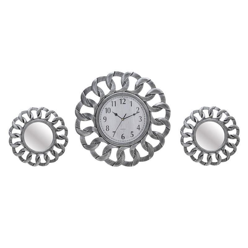 Комплект часовник и огледала в сребърно