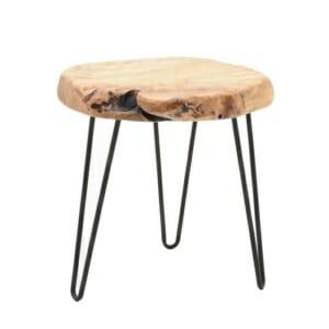 Кръгла холна маса с плот от парче естествено дърво