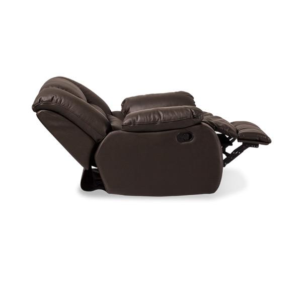 Луксозен кожен диван с релакс механизъм и люлееща функция, разпънат, цвят шоколад