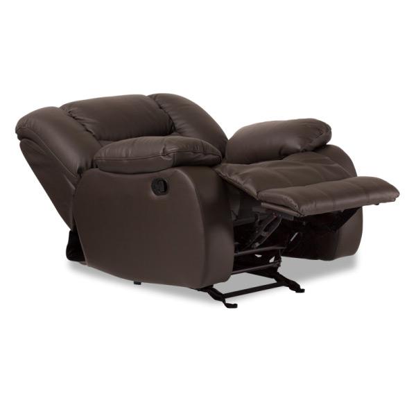 Луксозен кожен диван с релакс механизъм и люлееща функция, странично, цвят шоколад
