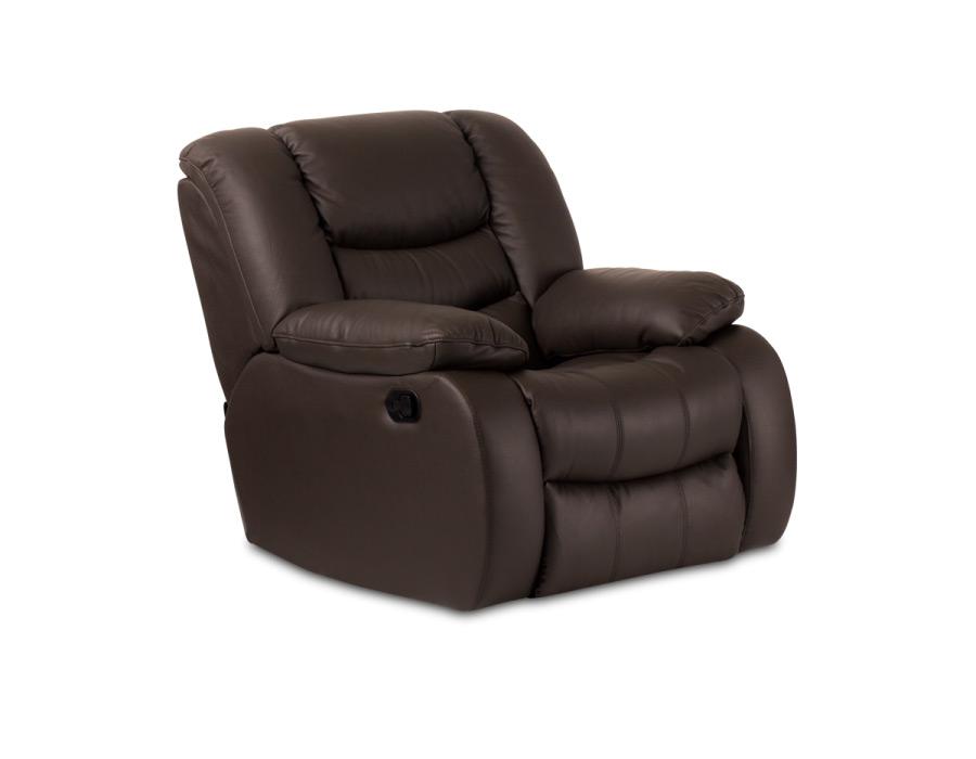 Луксозен кожен диван с релакс механизъм и люлееща функция, цвят шоколад