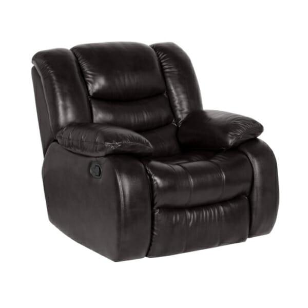 Луксозен кожен фотьойл с релакс механизъм и люлееща функция, в цвят земно кафяв