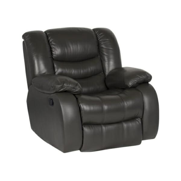 Луксозен кожен фотьойл с релакс механизъм и люлееща функция, в цвят графит