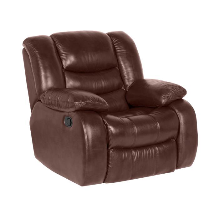 Луксозен кожен фотьойл с релакс механизъм и люлееща функция, в цвят кестен