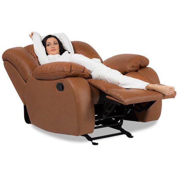 Луксозен кожен фотьойл с релакс механизъм и люлееща функция-с легнала жена
