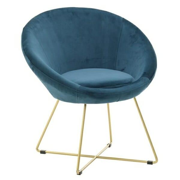 Овално кадифено кресло с метални крака
