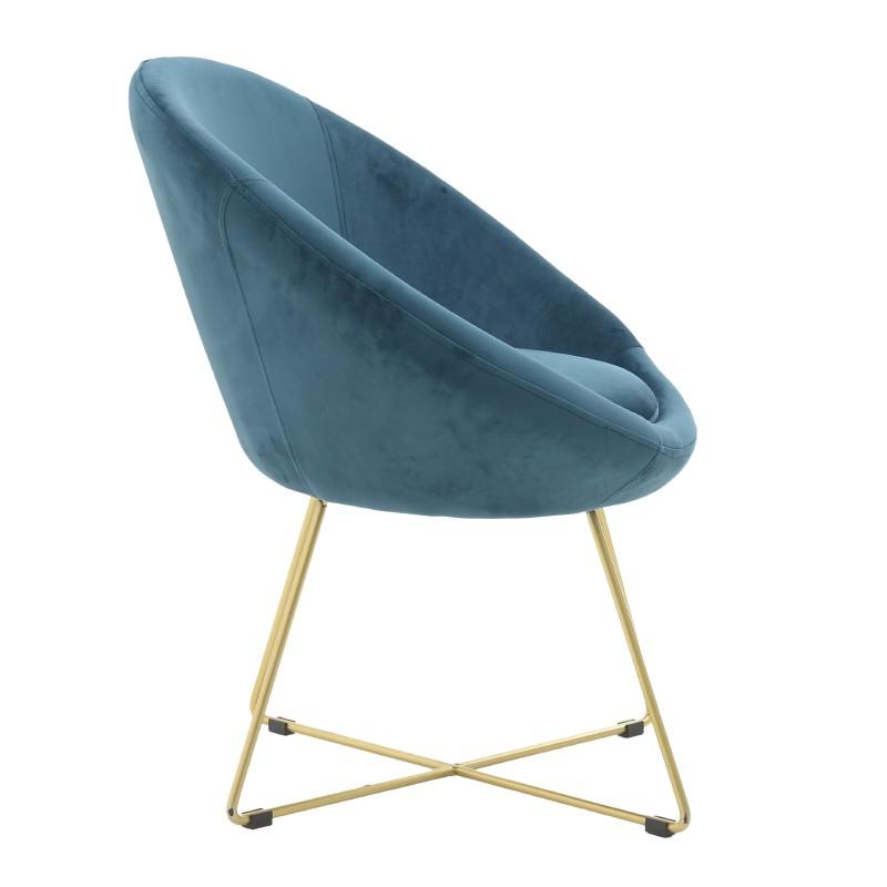 Овално кадифено кресло - отстрани