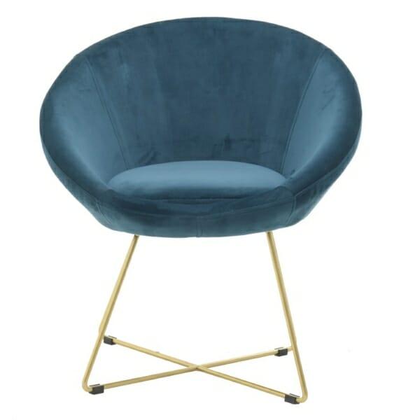 Овално кадифено кресло - отпред