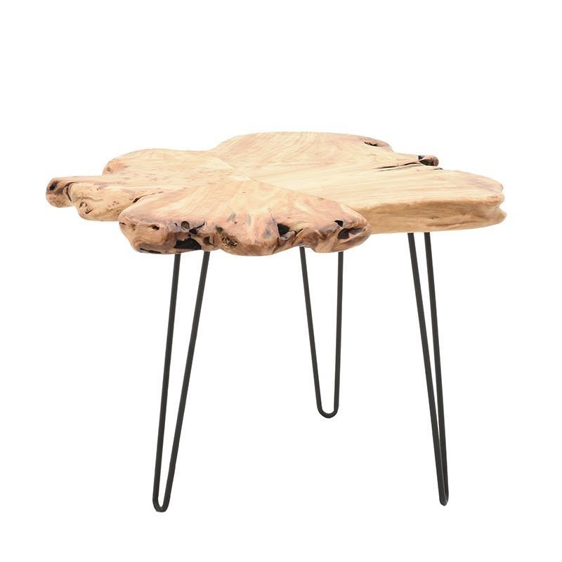 Помощна маса с плот от парче дърво с натурална форма