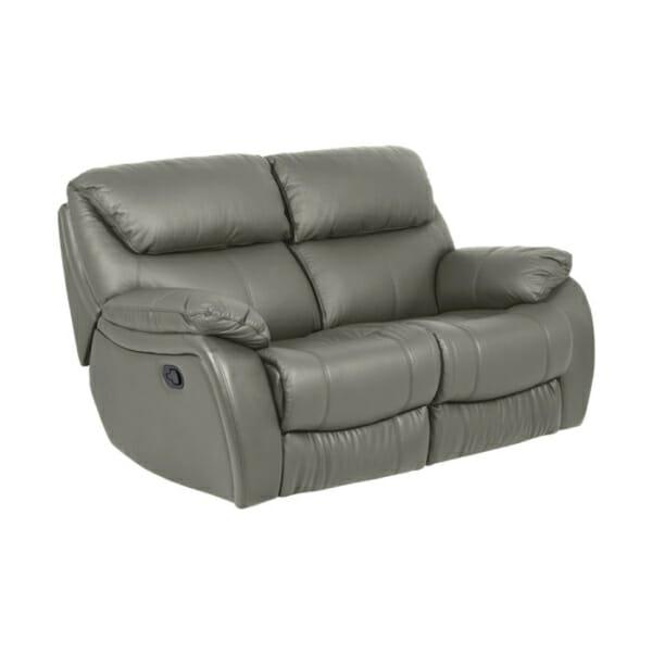 Сив двоен диван от естествена кожа с релакс механизми-sandra