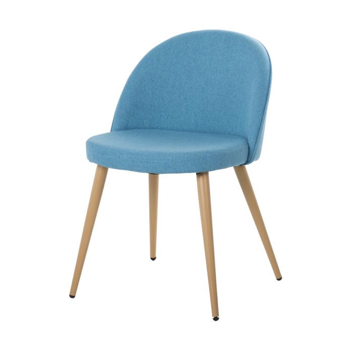 Син трапезен стол с метални крака имитиращи дърво Scandi 010