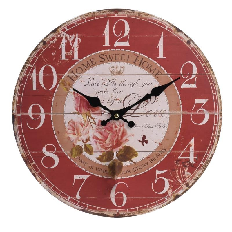 Стенен часовник с рози в червено