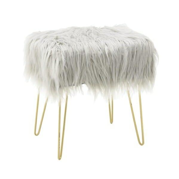 Табуретка със седалка от дълъг косъм - бяла