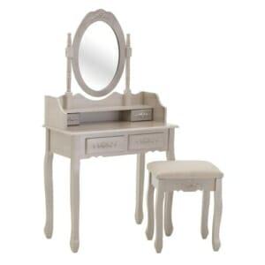 Тоалетка за гримиране с елипсовидно огледало и табуретка