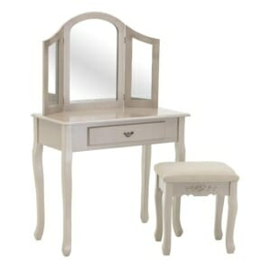 Тоалетка за гримиране с 3 огледала и табуретка