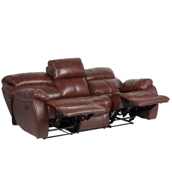 Троен диван от естествена кожа с вдигнати релакс механизми, серия Сандра