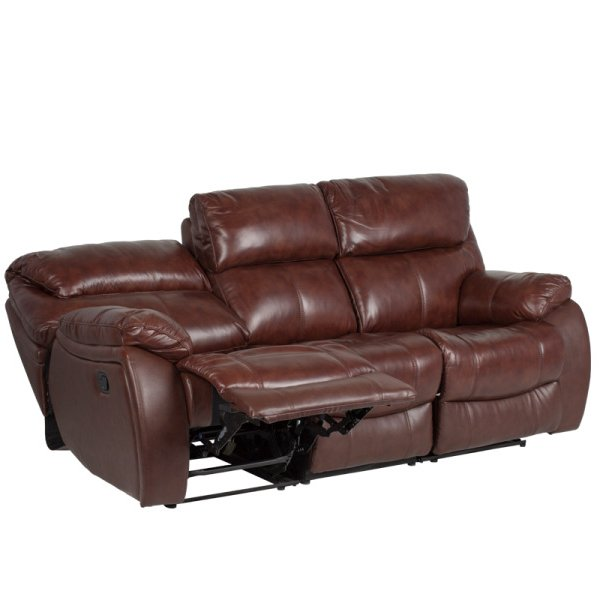 Троен диван от естествена кожа с вдигнат релакс механизми