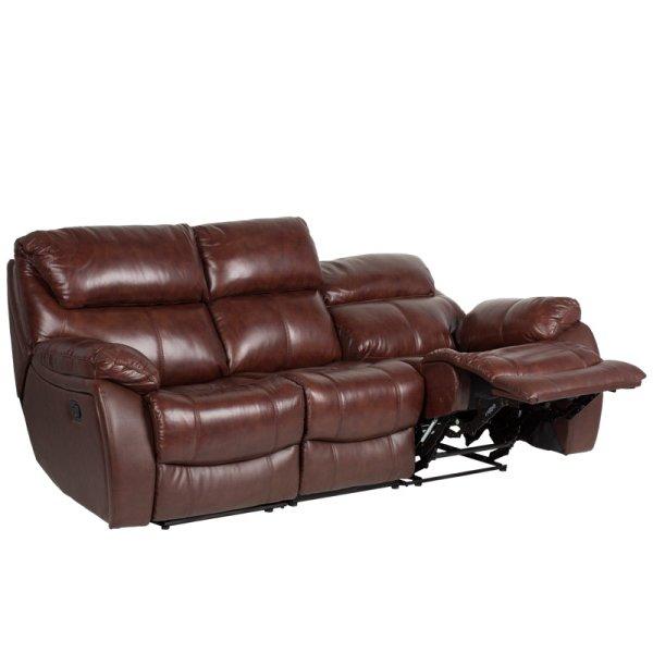 Троен диван от естествена кожа с вдигнат релакс механизъм, цвят кестен
