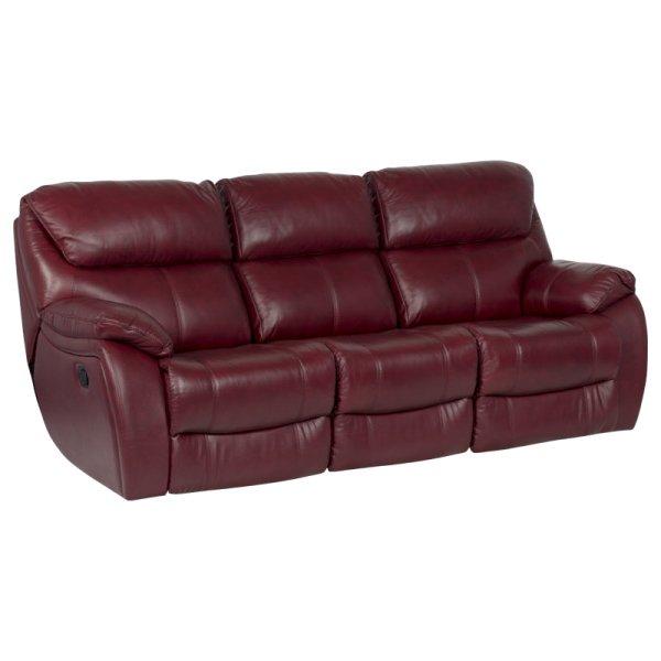 Троен диван от естествена кожа с релакс механизми - цвят вишна