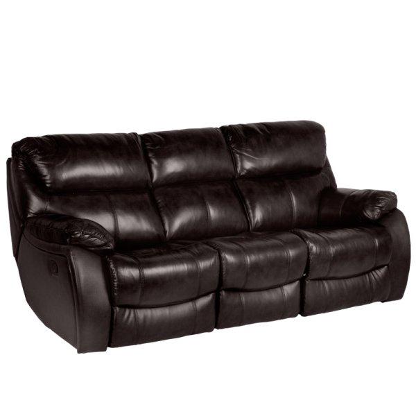 Троен диван от естествена кожа с релакс механизми - цвят земно кафяво, серия Сандра