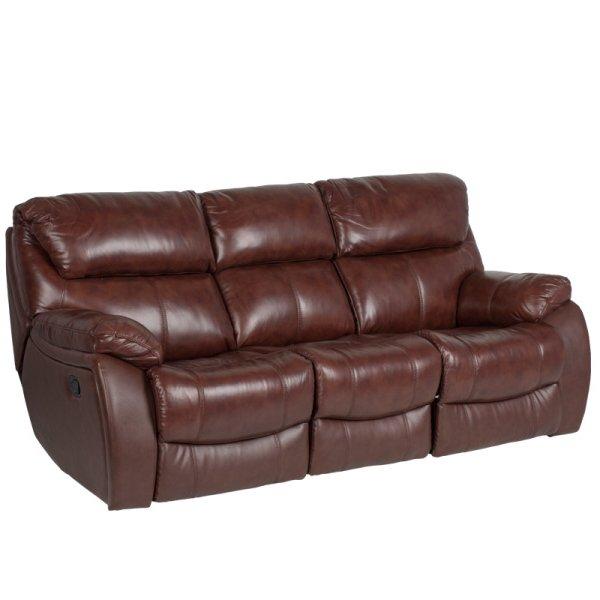 Троен диван от естествена кожа с релакс механизми - цвят кестен