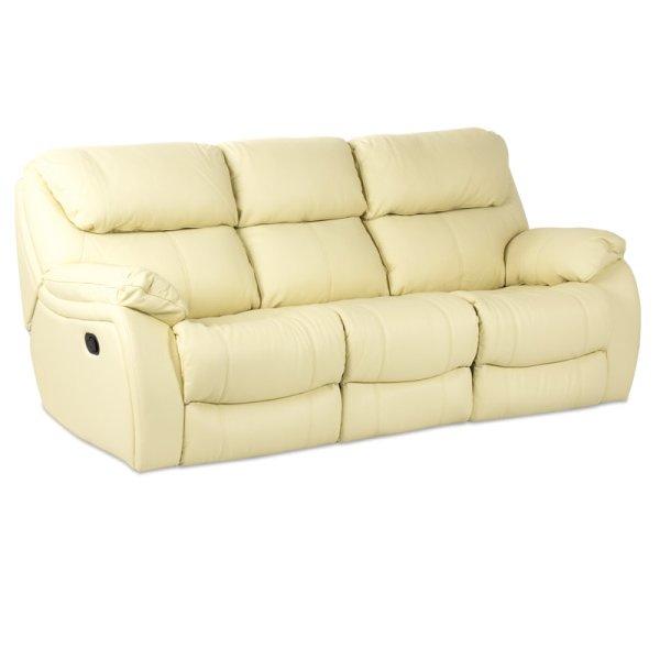 Троен диван от естествена кожа с релакс механизми, цвят шампанско, серия Сандра