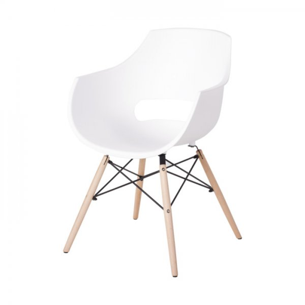 Бял удобен пластмасов трапезен стол Scandi