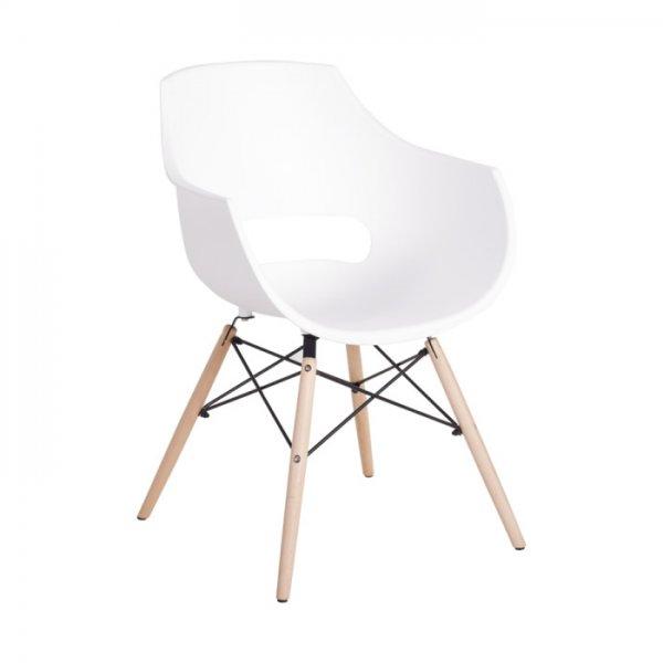 Удобен пластмасов трапезен стол Scandi - бял