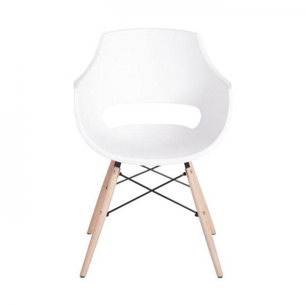 Бял удобен пластмасов трапезен стол Scandi 008 - отпред