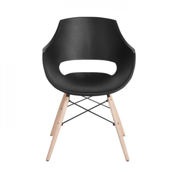 Черен удобен пластмасов трапезен стол Scandi 008 - отпред