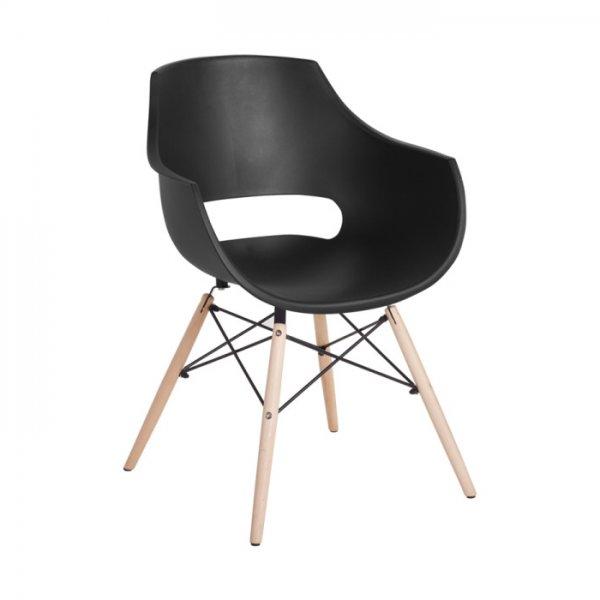 Удобен черен пластмасов трапезен стол Scandi 008