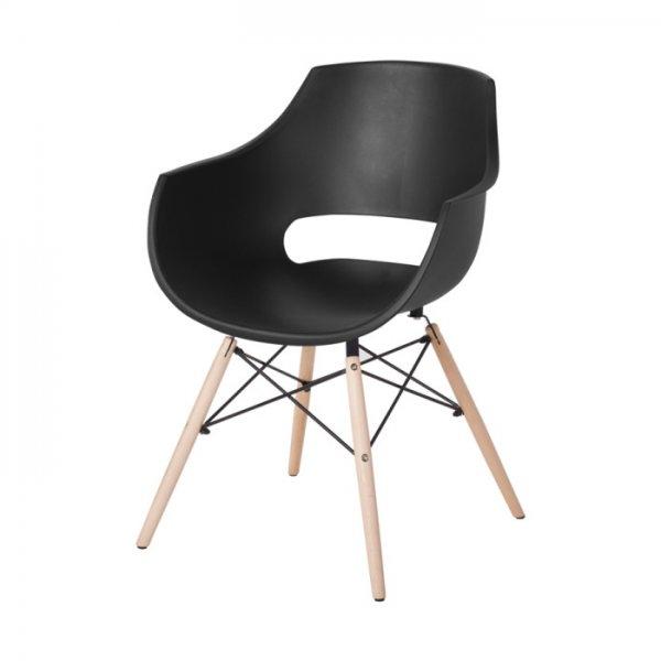 Черен удобен пластмасов трапезен стол Scandi 008