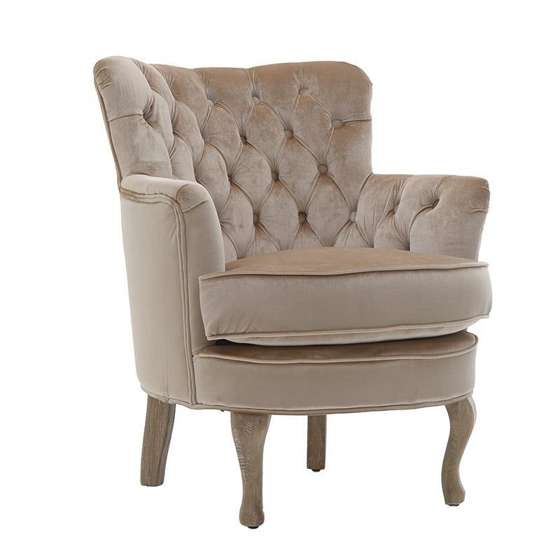 Удобно кадифено кресло в светлобежово