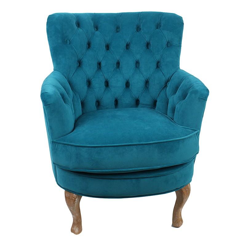 Удобно кадифено кресло в синьо - отпред