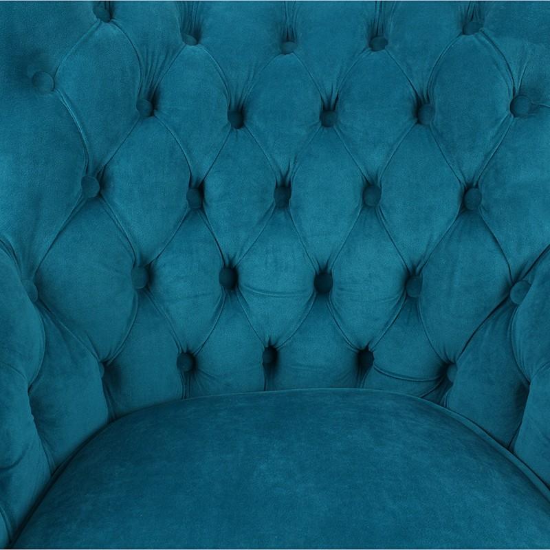 Удобно кадифено кресло в синьо - отблизо