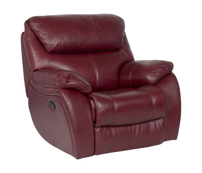 Комфортен фотьойл за хол от естествена кожа, с релакс механизъм серия Сандра - цвят Вишна