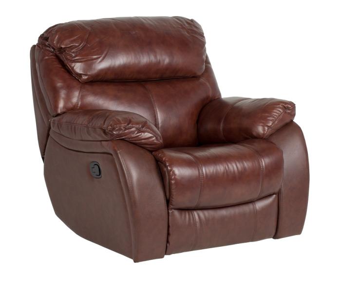 Комфортен фотьойл за хол от естествена кожа, с релакс механизъм серия Сандра - цвят Кестен