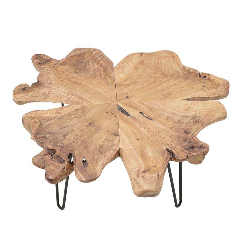 Холна маса с плот от парче дърво с натурална форма-снимка отгоре
