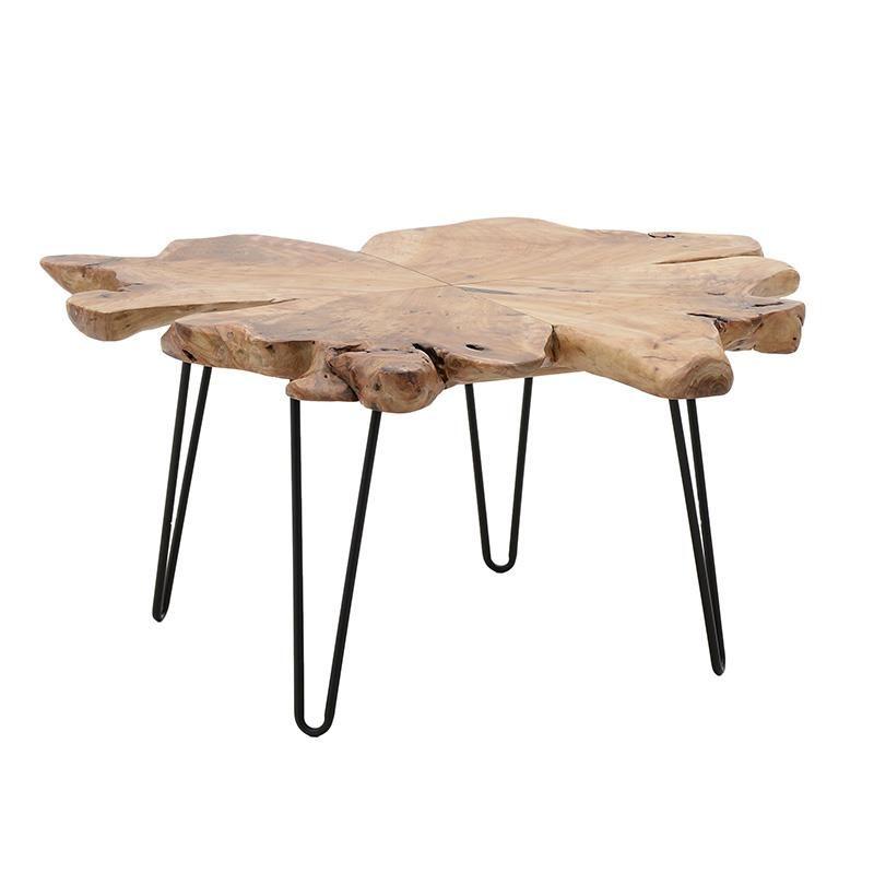 Холна маса с плот от парче дърво с натурална форма