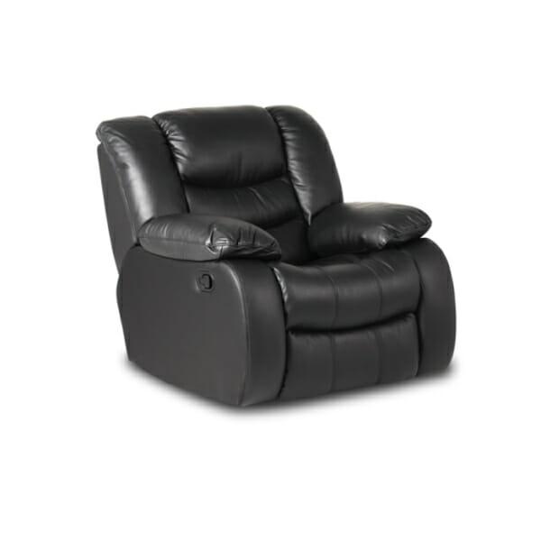 Черен луксозен кожен фотьойл с релакс механизъм и люлееща функция