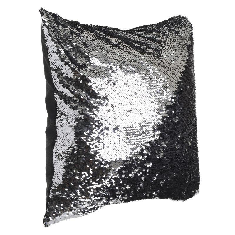 Възглавничка с двуцветни пайети в черно и сребристо