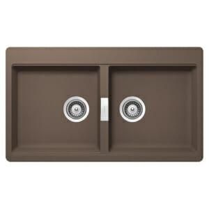 Двойна мивка за кухня SCHOCK Horizont N200, цвят Earth