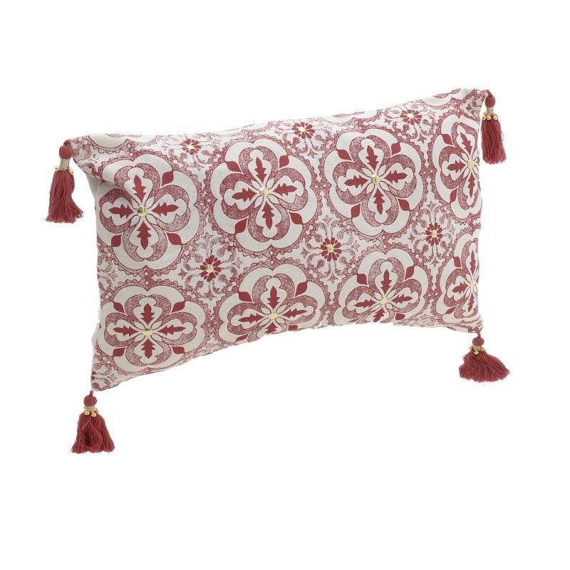 Декоративна възглавничка с пискюлчета Red Tassel