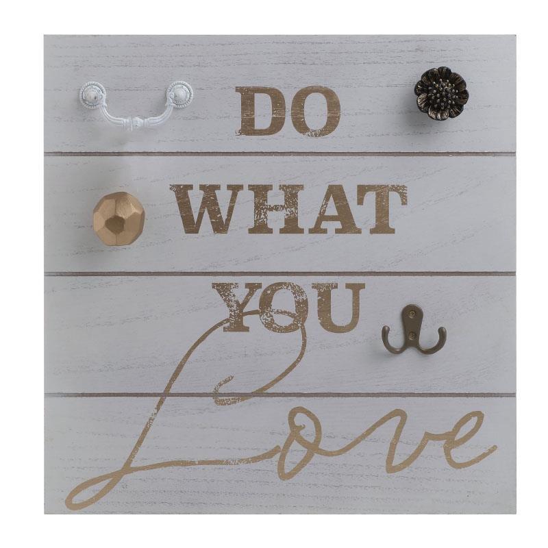 Декоративна дървена закачалка с послание