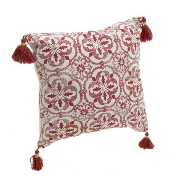 Квадратна възглавничка с пискюлчета Red Tassel