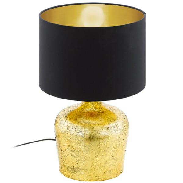 Модерна настолна лампа серия Manalba, цвят черно+златно, малка