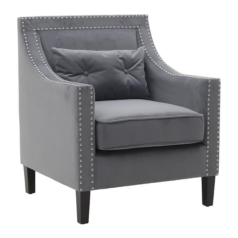 Стилно кресло с възглавничка в сиво