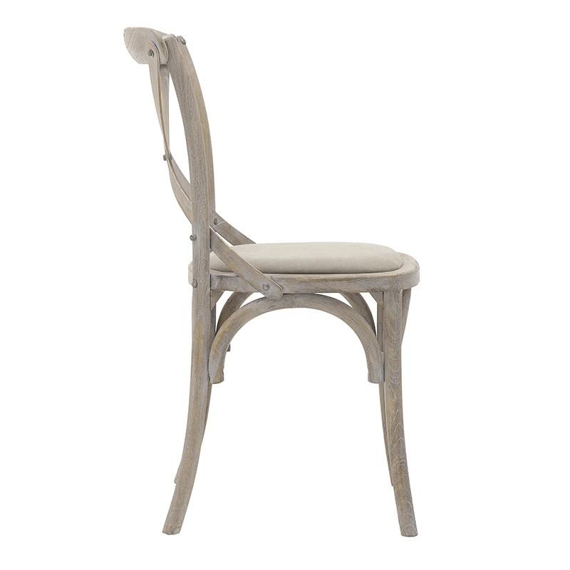 Трапезен стол бистро в бежово - отстрани