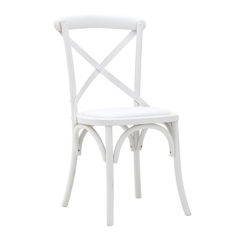 Трапезен стол бистро в бяло