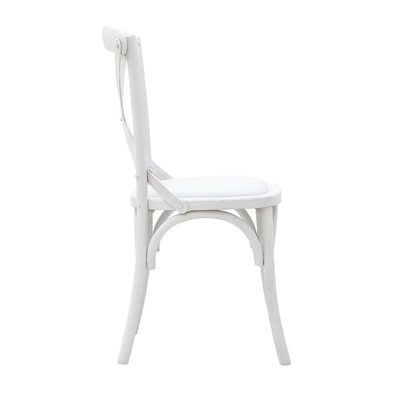 Трапезен стол бистро в бяло - отстрани